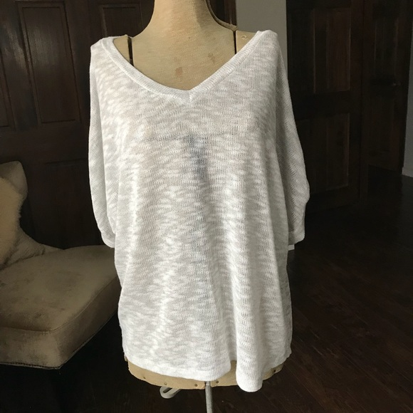 Blue Bird Tops Sheer Grey White Sweater Size Large Poshmark